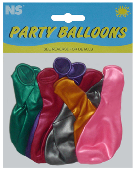 NS METALLIC MEDIUM BALLOONS 10's